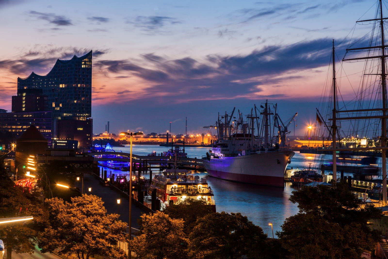 Hamburg - panorama of the port at sunrise