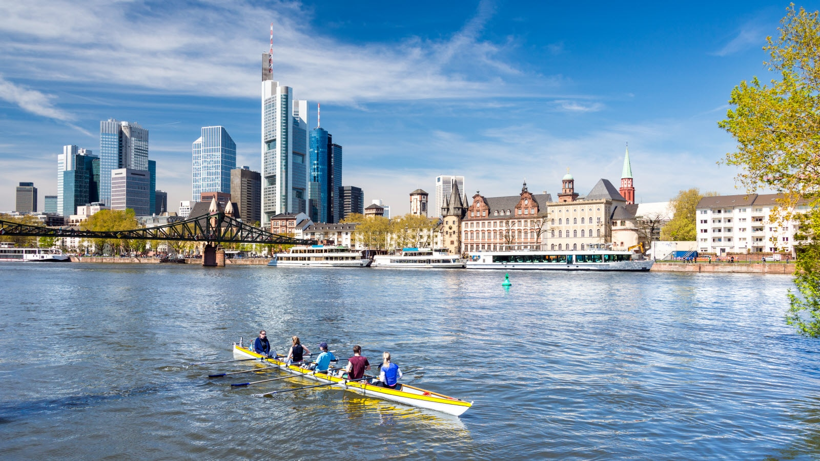 Frankfurt skyline from Main river
