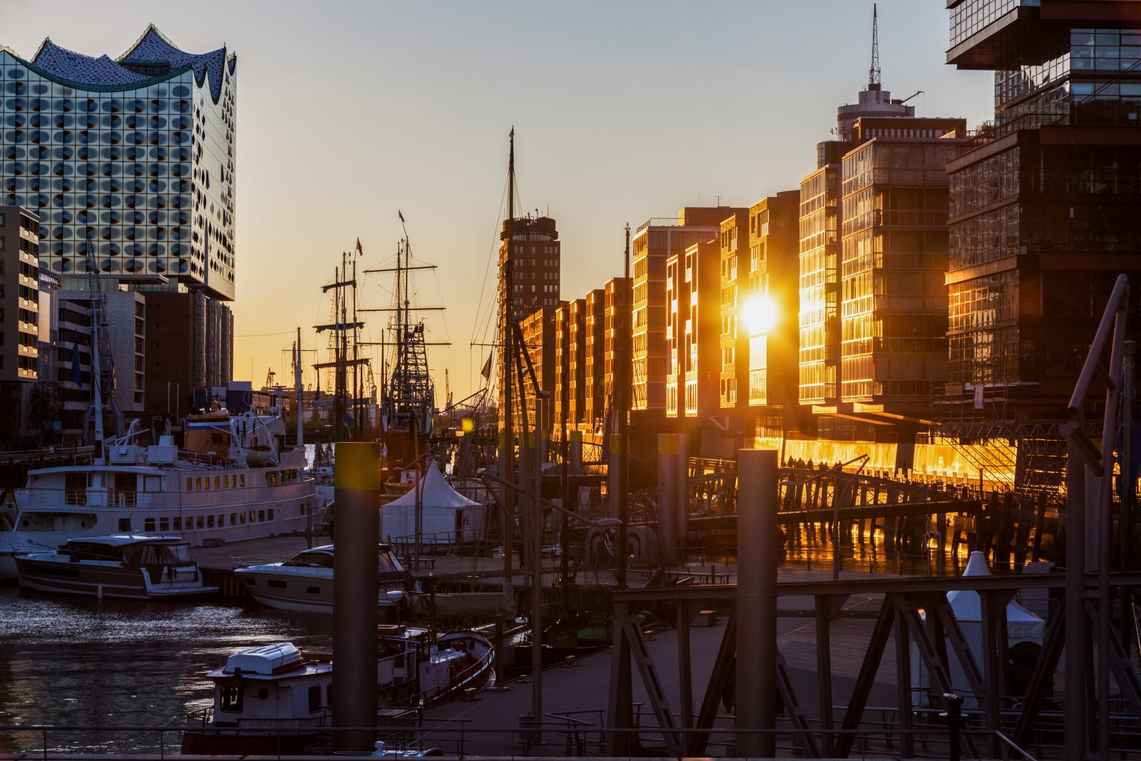 Architecture of Hamburg at sunset. Hamburg, Germany.