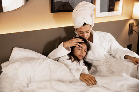 mother and daughter in bathrobe at scandic hotels