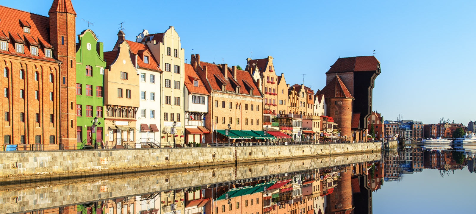 Old Town of Gdansk in Poland with Motlava river, Poland