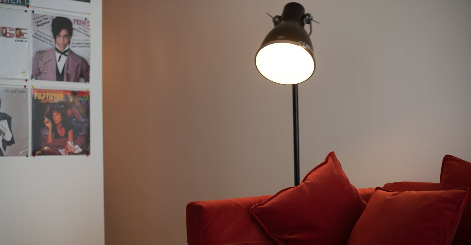 Sofa with steel lamp