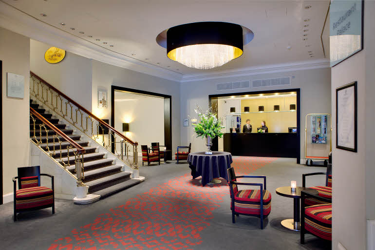Lobby of  Scandic Palace Hotel in Copenhagen