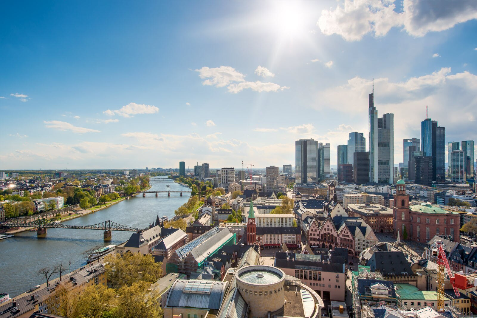 View of skyline at center business district in Frankfurt