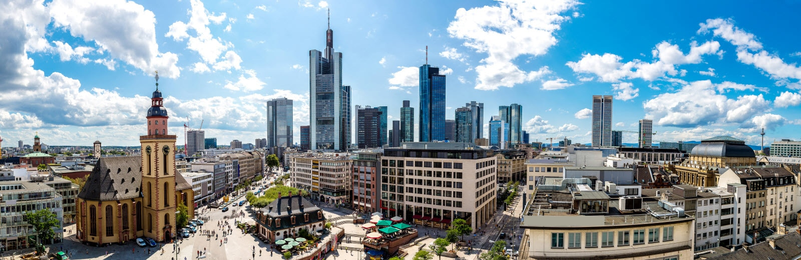 Summer panorama of the financial district in Frankfurt, Germany in a summer day