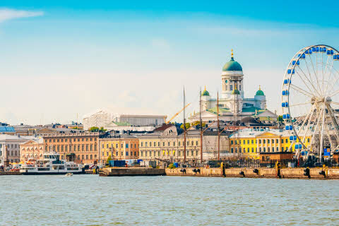 Panorama Of Embankment In Helsinki At Summer Sunset Evening, Sunrise Morning, Finland. Cityscape View From Sea.