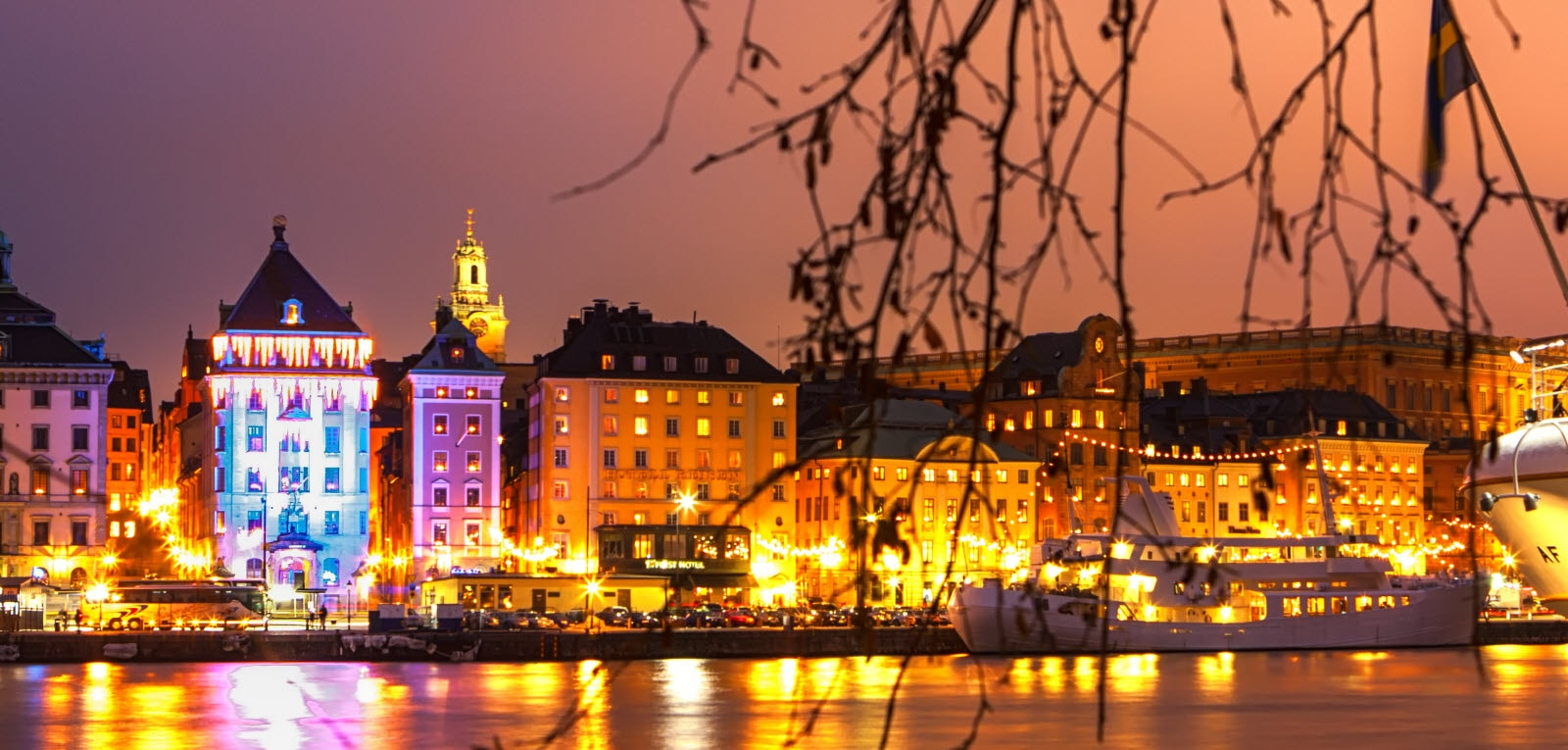 Christmas time in Stockholm Sweden, view over Skeppsbron. Mostphotos.com
