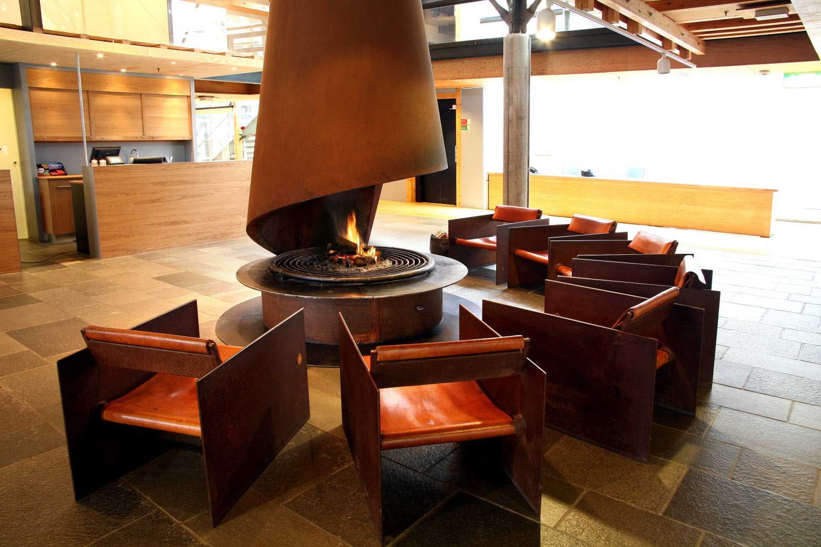 Stiklestad Hotel, Verdal, reception, fireplace